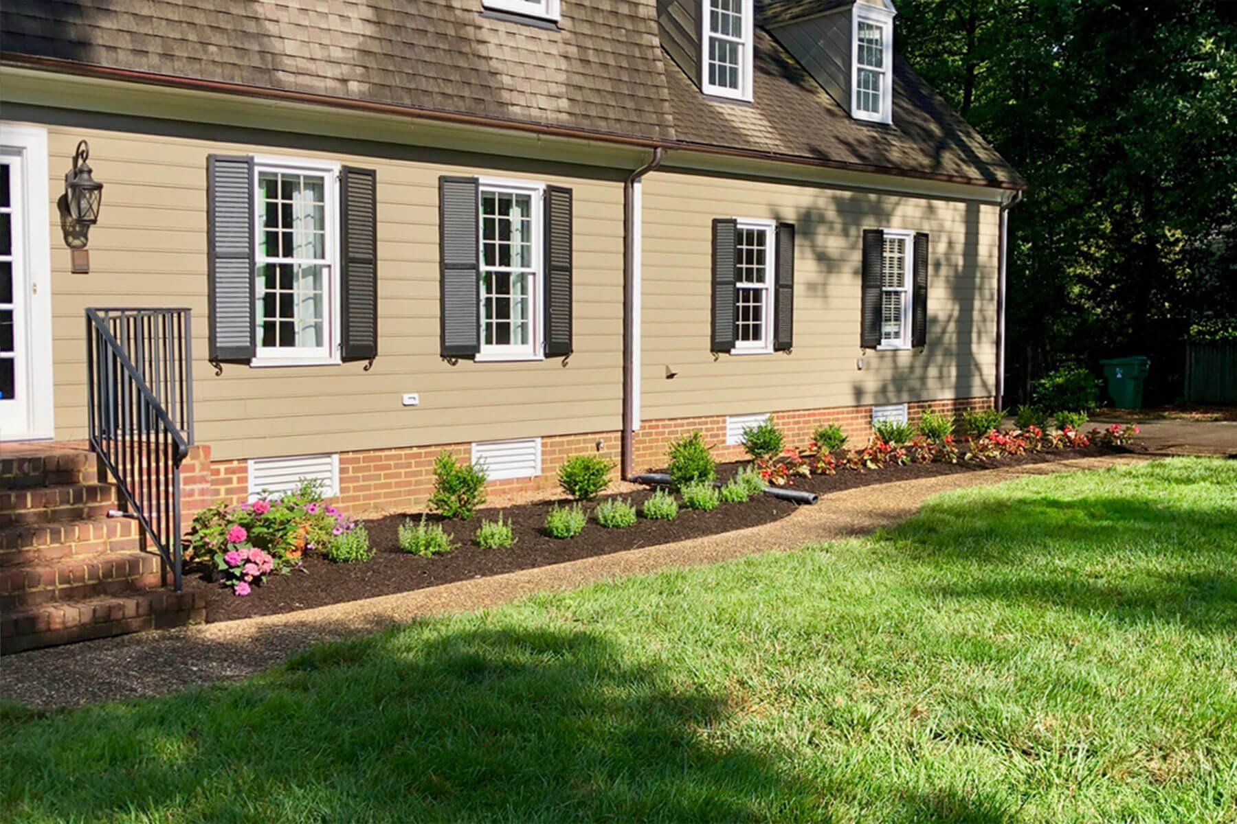 New mulched perennial bed installation